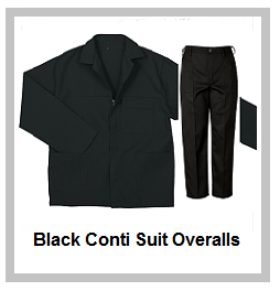 Black 2 piece conti suit overalls