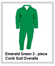 Emerald Green 2piece conti suit overalls 80-20 poly cotton