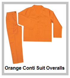 Orange 2piece conti suit overalls (80-20 poly cotton)