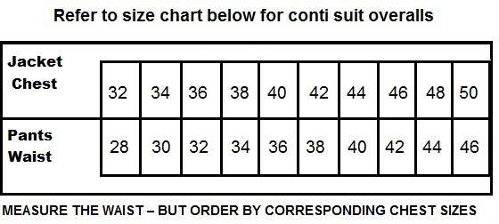 Conti Suit Overalls and Workwear Size Chart