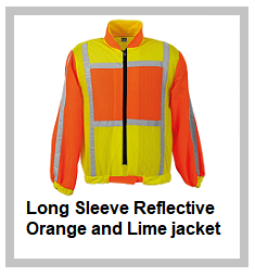 Long Sleeve Reflective Orange and Lime jacket
