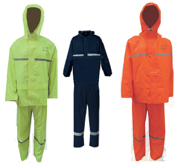 Orange, Lime and Navy Rainsuits with Reflective Tape