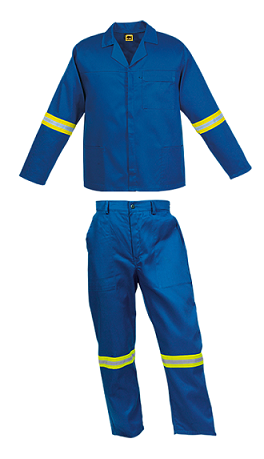Royal Blue 2 piece conti suit overalls with Reflective Tape on arms and legs