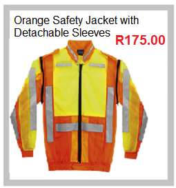 Orange Safety Jacket with Detachable Sleeves