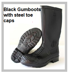 Black Gumboots with steel toe caps