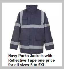 Navy Parka Jackets with Reflective Tape