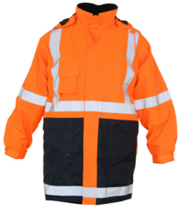 Two Tone Parka Winter Jacket Orange and Navy with Silver Reflective Tape