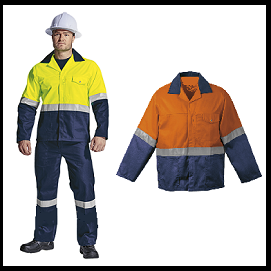 Lime - Navy and Orange - Navy reflective 2piece conti suit overalls (poly cotton) with Silver Reflective Tape (1)