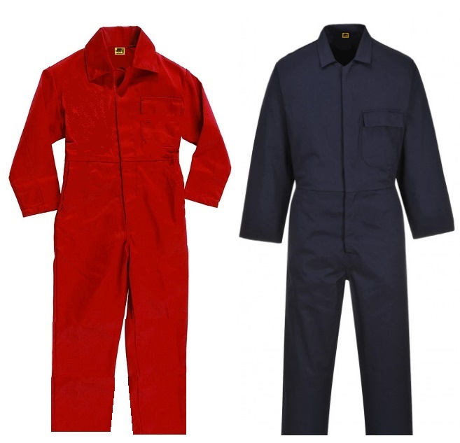 Red 1 Piece Boiler Suit Overalls with concealed button front closure