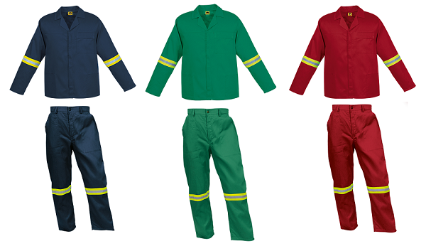 Conti Suit Overalls (80-20 poly cotton) with Lime and Silver Reflective Tape on arms and legs