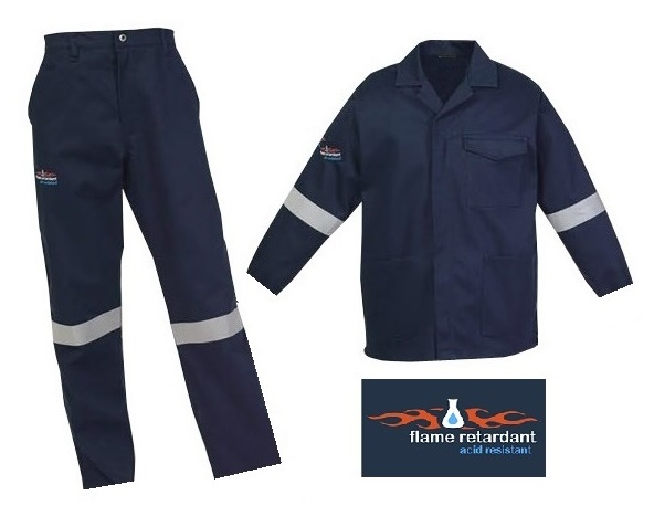 Navy Flame and Acid Proof conti suit overalls (D59 - 100% cotton - 285gm2) with YKK Zips & Silver Reflective Tape SABS