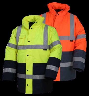 Hi-Viz Two Tone Reflective Safety Parka Freezer Jacket - Orange or Lime