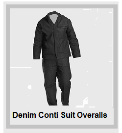 Denim Black Conti Suit Overalls (10oz poly cotton)