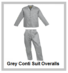 Grey 2piece conti suit overalls (80-20 poly cotton)