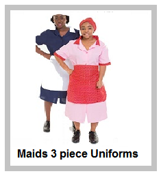 Maids three piece sets in assorted colours