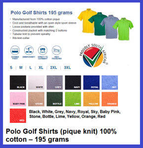 Polo Golf Shirts 195grams