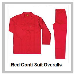 Red Conti Suit Overalls (80-20 poly cotton)