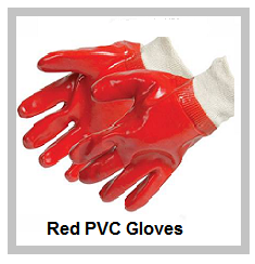 Red PVC Gloves with elasticated wristband