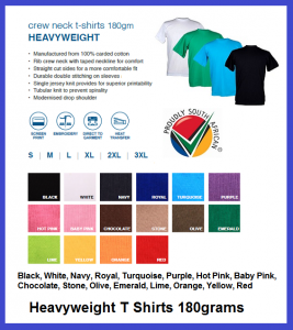 Heavyweight T Shirts 180 grams