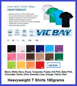 VicBay Heavyweight T Shirts 180grams