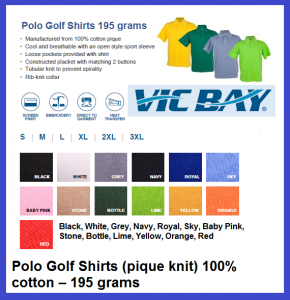 VicBay Polo Golf Shirts 195grams