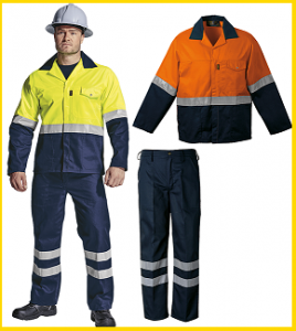 Barron Two Tone Reflective 2piece conti suit overalls (poly cotton) in Lime Green or Orange jacket tops and Navy Pants with 50mm silver reflective tape, YKK Zips R325.00