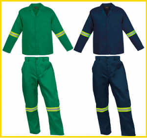 Assorted colours 2-piece conti suit overalls (80/20 poly cotton) with reflective tape on arm & legs