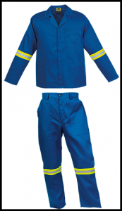 Royal Blue 2piece conti suit overalls (100% cotton) with LimeSilver Reflective Tape Black Outline