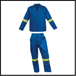 Royal Blue 2piece conti suit overalls (100% cotton) with LimeSilver Reflective Tape - Square