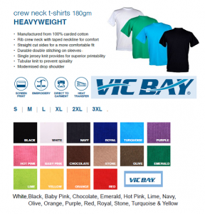 Vic Bay Heavyweight T Shirts 180grams