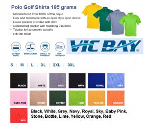 VicBay Polo Golf Shirts 195grams