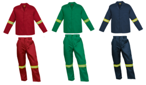 Red 2piece conti suit overalls (80-20 poly cotton) with LimeSilver Reflective Tape on arms and legs