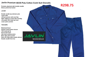Javlin Poly Cotton Conti Suit Overalls