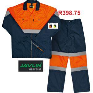 Javlin Premium Two Tone (Orange and Navy) Hi-Visibility Reflective Conti Suit Overalls