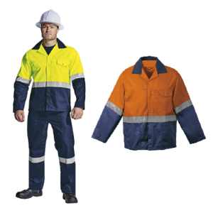 Lime - Navy and Orange - Two Tone reflective conti suit overalls (poly cotton) with Silver Reflective Tape