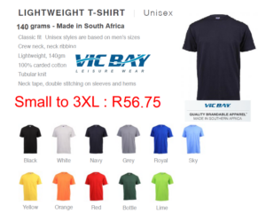 Vicbay Lightweight T/Shirts - 100% cotton – 140 grams (Made in South Africa) Black, White, Navy, Grey, Royal, Sky Blue, Bottle Green, , Lime, Yellow, Orange, Yellow, Red Small to 3XL