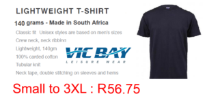 Vicbay Lightweight T/Shirts - 100% cotton – 140 grams