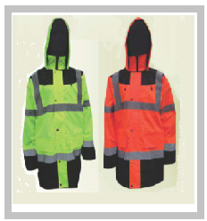 Two Tone Parka Jacket with Hood in Orange and Navy