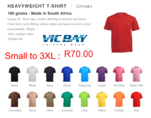 Vicbay Heavyweight T/Shirts - 100% cotton – 180 grams