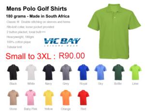 Vicbay Mens Polo Golf Shirts (pique knit) 100% cotton - 180 grams
