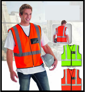 Safety Waist Coat with Silver Reflective Tape and ID Pouch