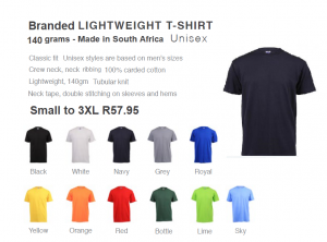 Branded T/Shirts - 100% cotton – 140 grams